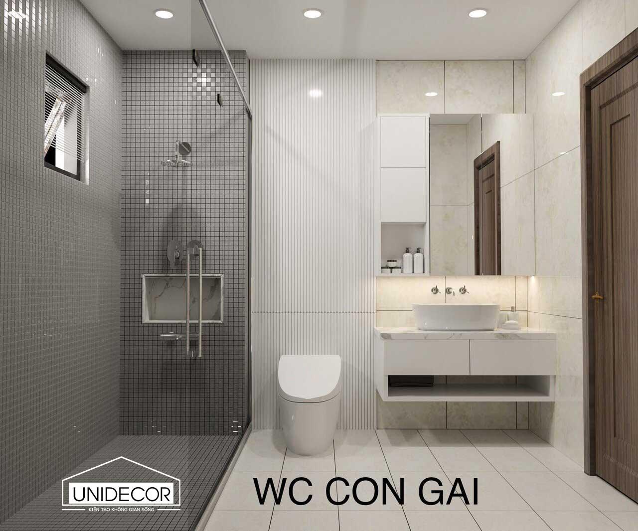 Toilet phòng con gái nhà 4 tầng chú chanh