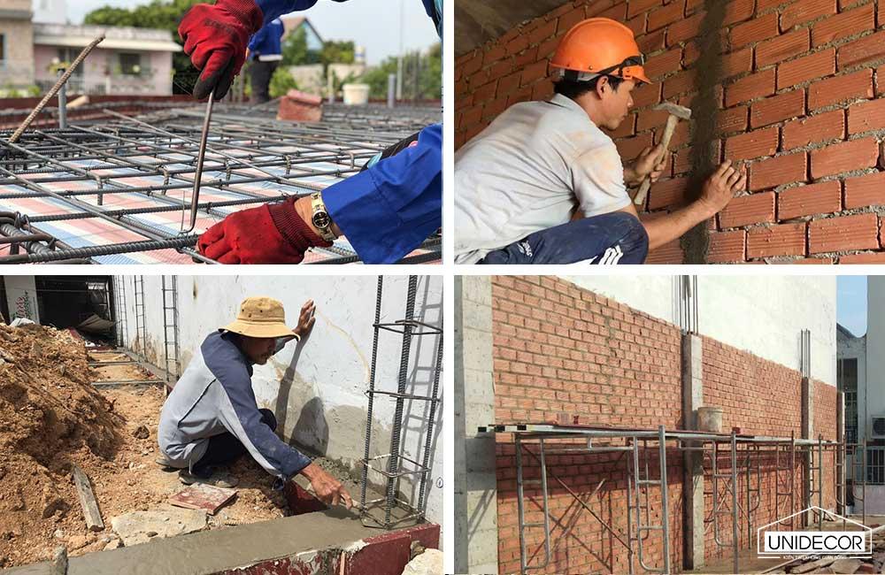 Công nhân thi công nhà phố phần thô
