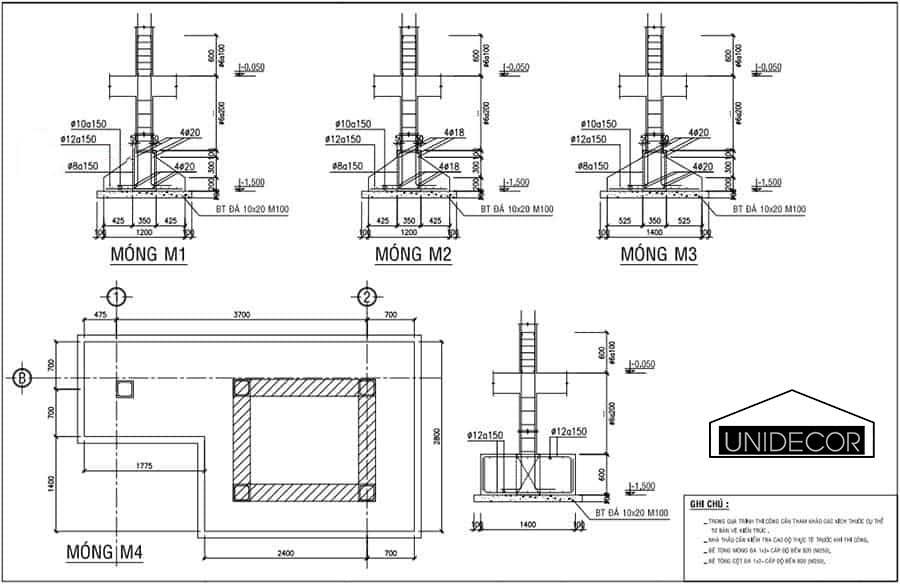 Bản vẽ kết cấu móng băng nhà 3 tầng