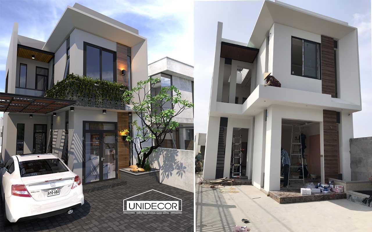 So sánh hình ảnh thiết kế và hoàn thiện ngôi nhà 2 tầng