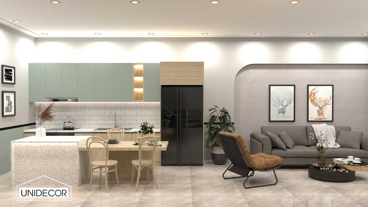 Phòng bếp thiết kế rộng rãi, tiện nghi